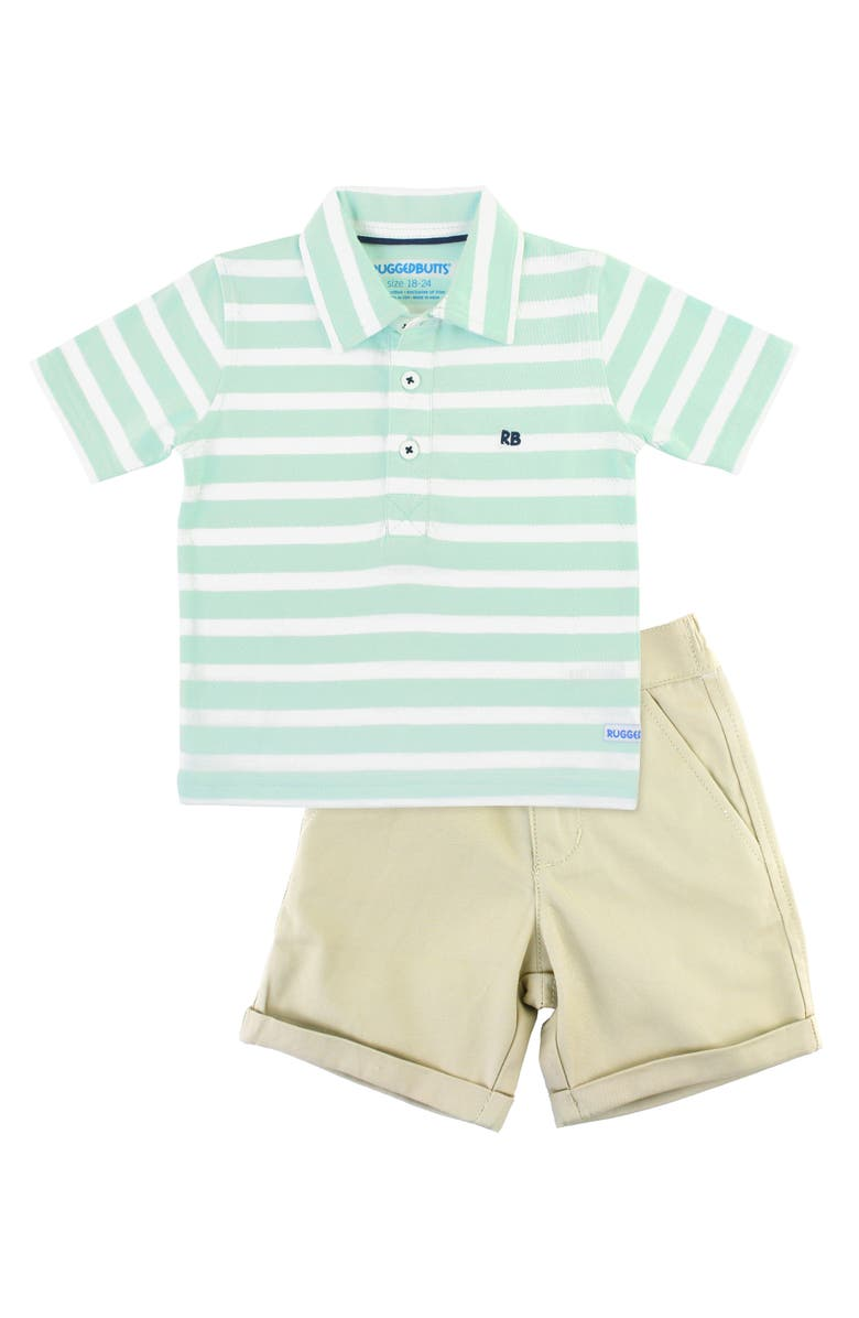 RuggedButts Stripe Polo Shorts Set Baby