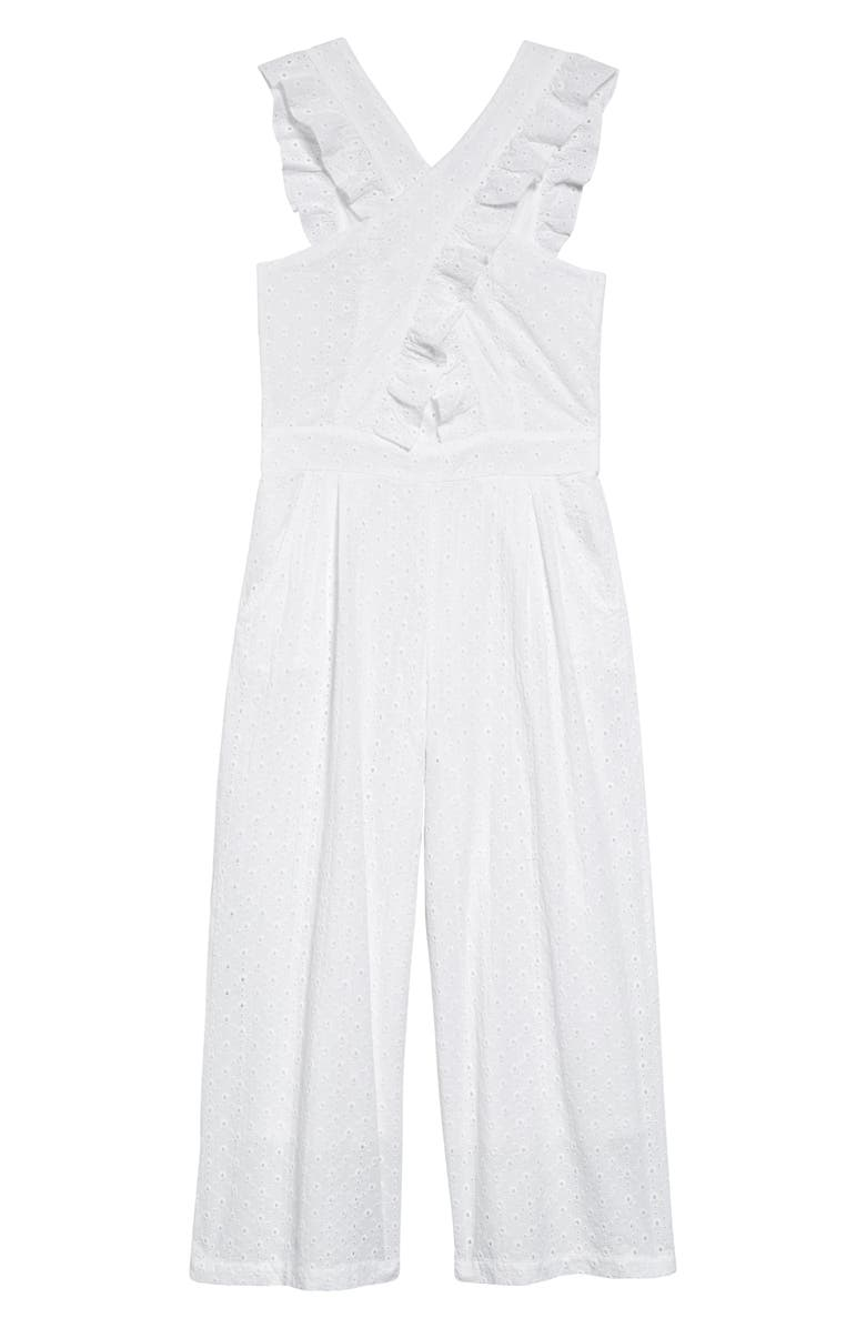 HABITUAL Kids Mila Crisscross Jumpsuit, Main, color, WHITE