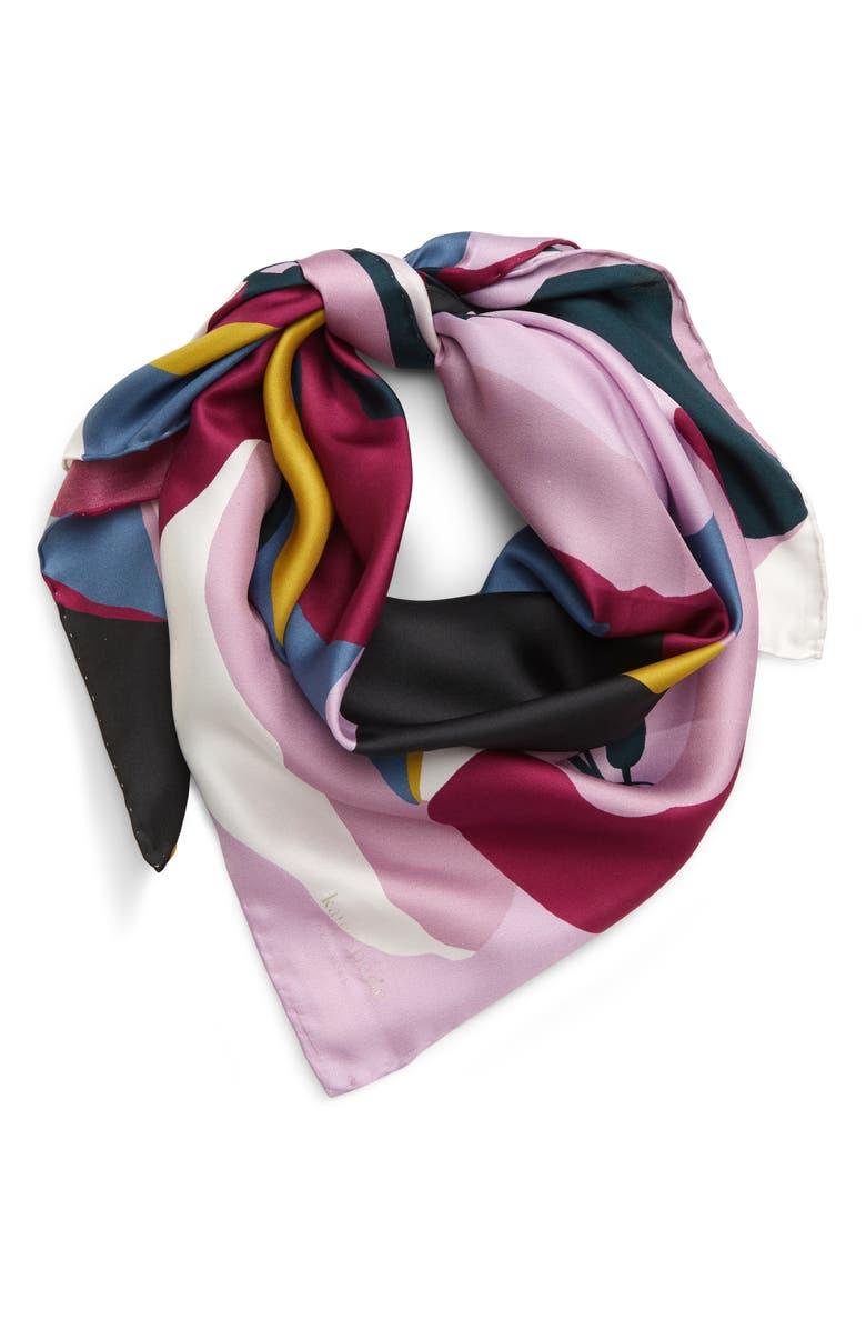 KATE SPADE NEW YORK quad flower square silk scarf, Main, color, 400