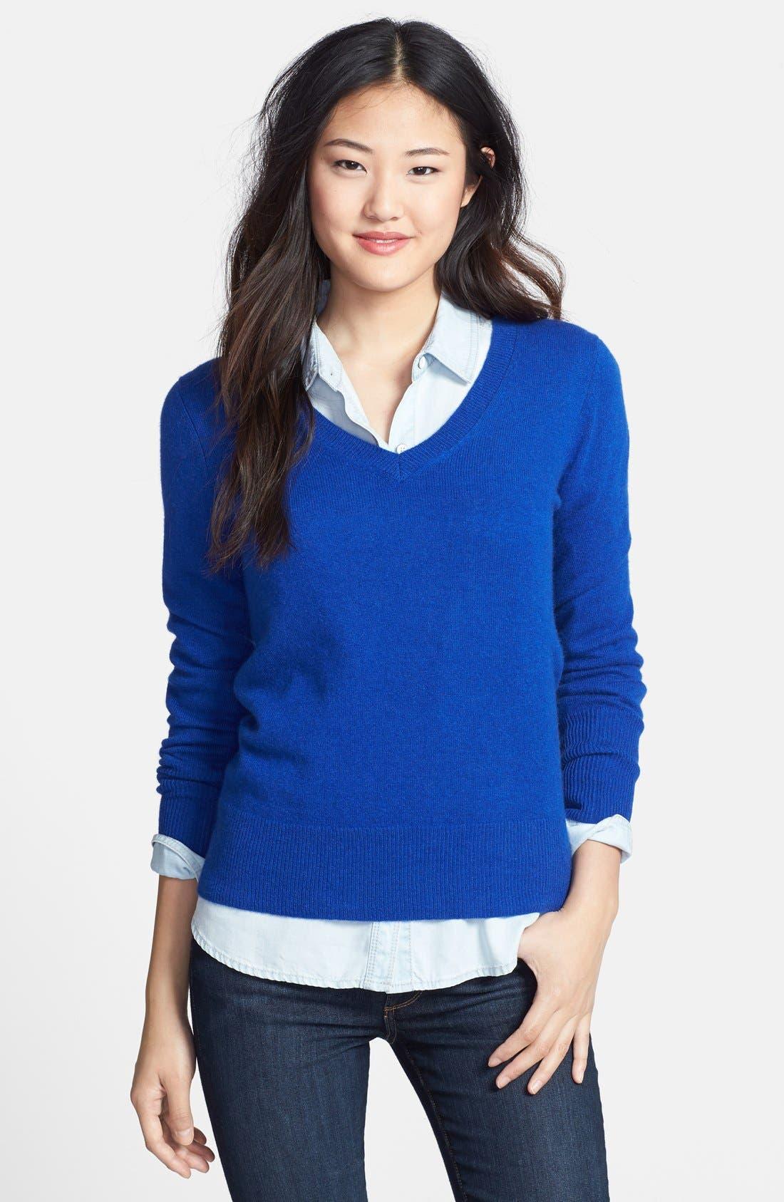 ,                             Cashmere V-Neck Sweater,                             Main thumbnail 35, color,                             420