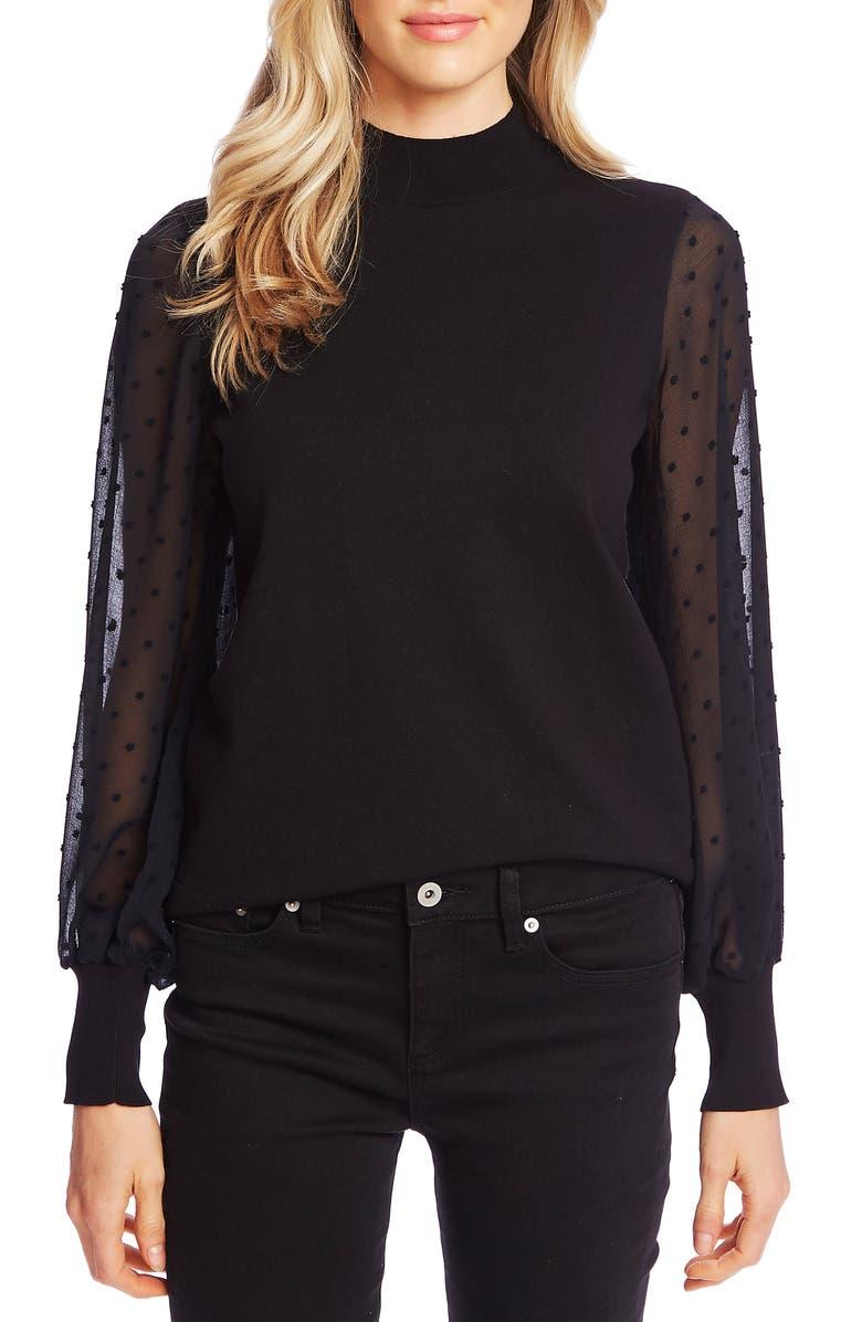 CECE Clip Dot Sleeve Sweater, Main, color, RICH BLACK