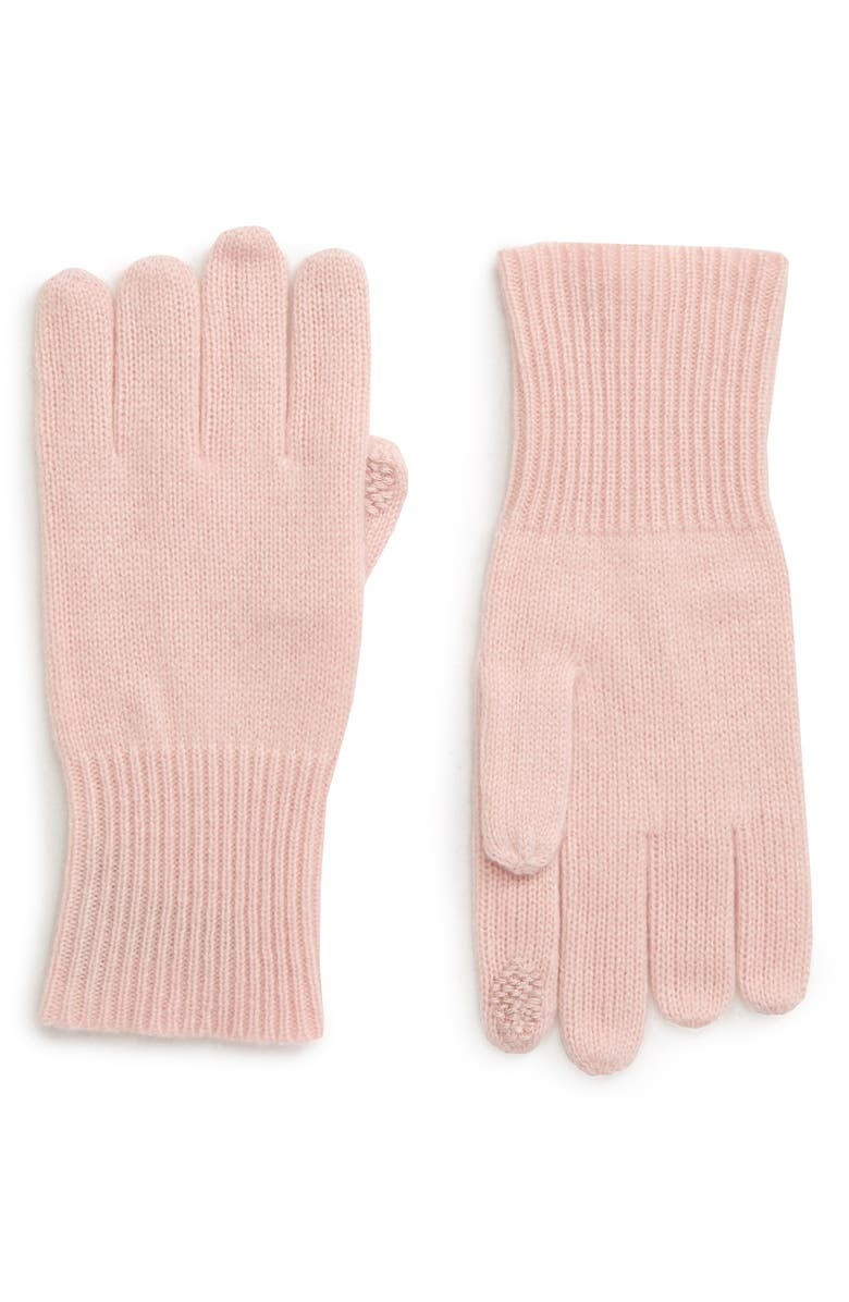 HALOGEN<SUP>®</SUP> Rib Knit Cashmere Gloves, Main, color, PINK SMOKE