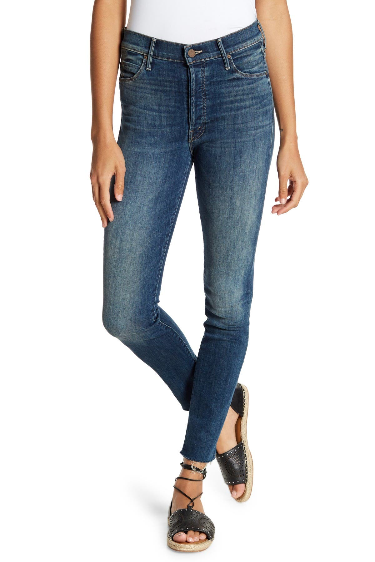 Image of MOTHER The Stunner Frayed Ankle Skinny Jeans