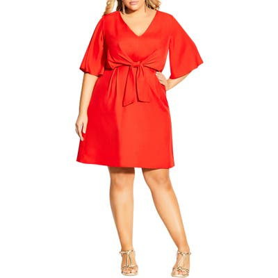 Plus Size City Chic Knot Front Fit & Flare Dress, Red