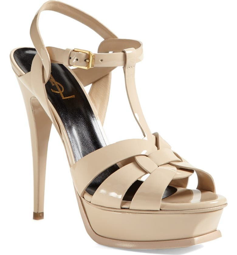 SAINT LAURENT Tribute T-Strap Platform Sandal, Main, color, NUDE PATENT