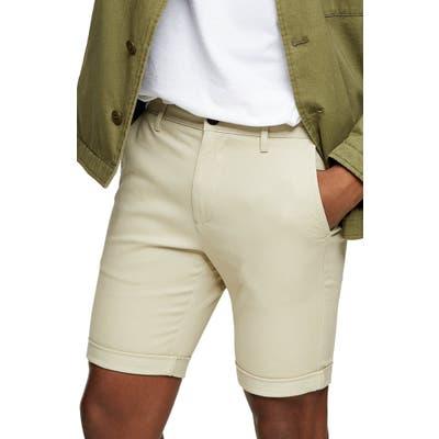 Topman Stretch Skinny Chino Shorts, Beige