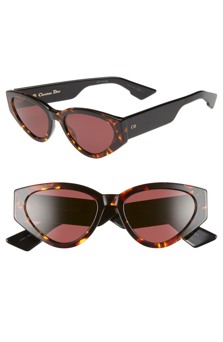 DIOR Diorspirit 2 52mm Cat Eye Sunglasses, Main, color, YELLOW RED HAVANA