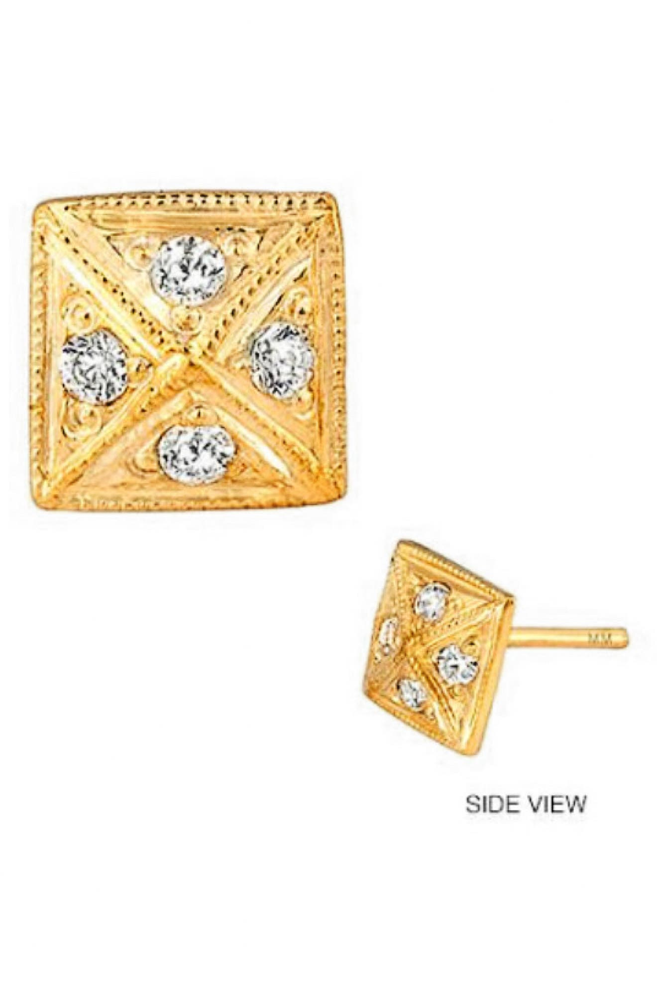 A pyramid-shaped earring in 14-karat gold is alight with sparkling diamonds. Style Name: Mini Mini Jewels Diamond Icon Pyramid Earring. Style Number: 5770502. Available in stores.