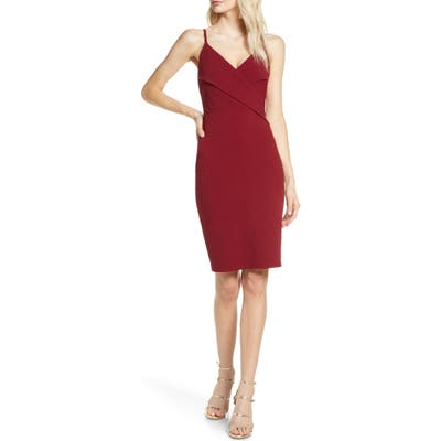 Lulus Surplice Spaghetti Strap Cocktail Sheath, Burgundy