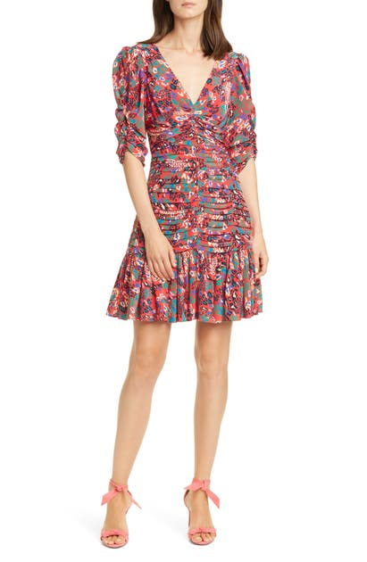 Tanya Taylor Dresses PANSY RUCHED & PLEATED SILK DRESS