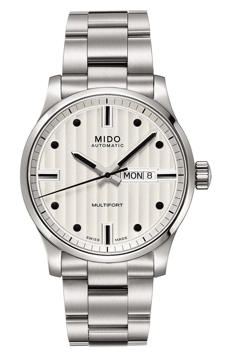 MIDO Multifort Automatic Bracelet Watch, 42mm, Main, color, SILVER/ WHITE