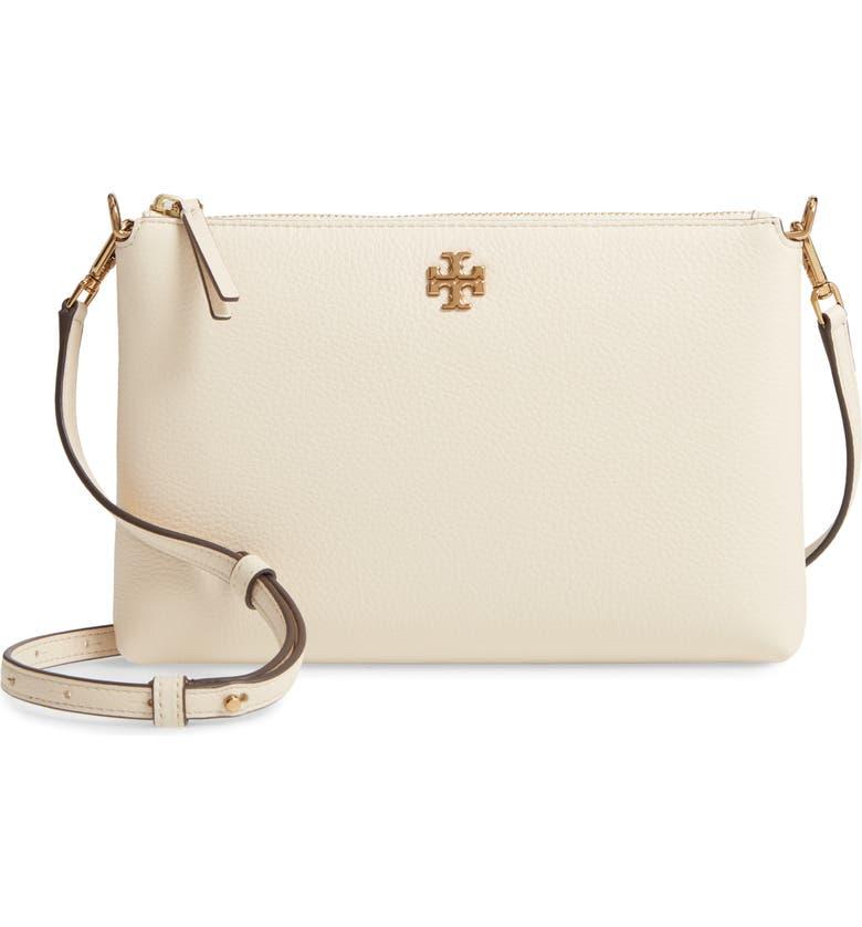 TORY BURCH Kira Pebbled Leather Wallet Crossbody Bag, Main, color, NEW CREAM