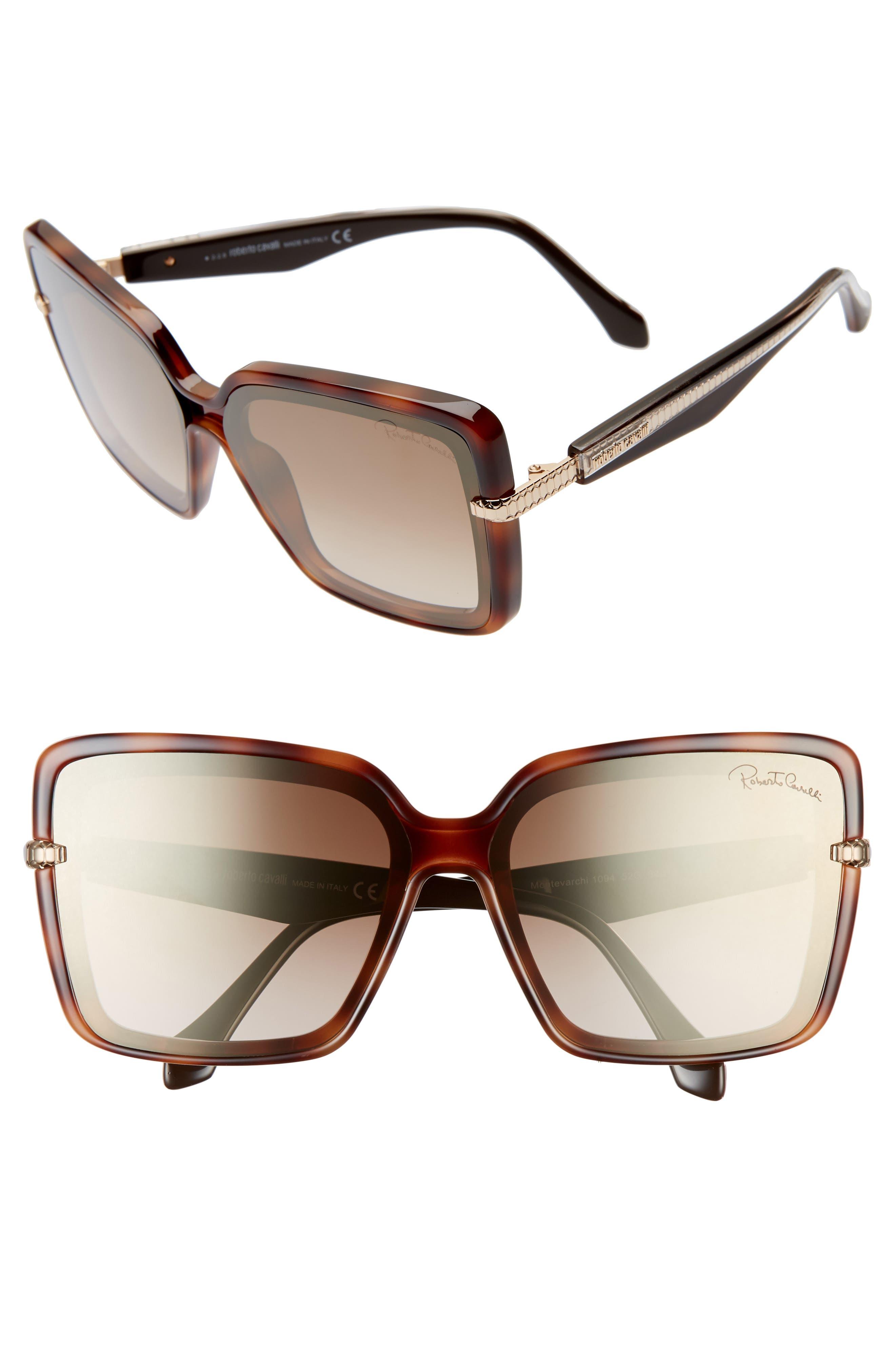 Roberto Cavalli 62Mm Oversize Flat Front Butterfly Sunglasses - Dark Havana/ Brown Mirror