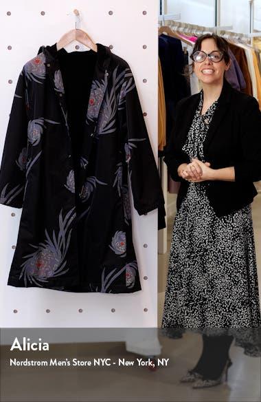 Chrysanthemum Print Hooded Long Coat, sales video thumbnail