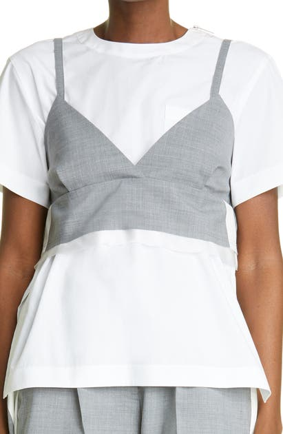Sacai Tops POPLIN TOP WITH REMOVABLE BRALETTE