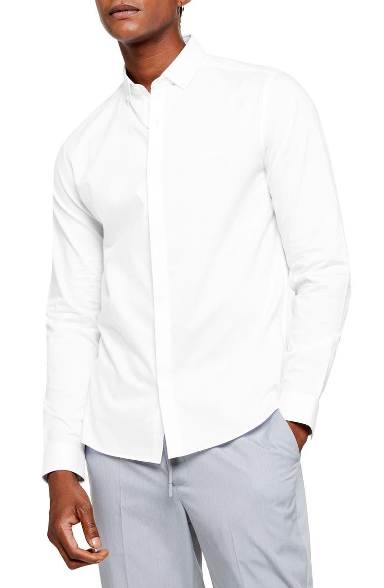 TOPMAN Slim Fit Textured Button-Down Shirt, Main, color, 100