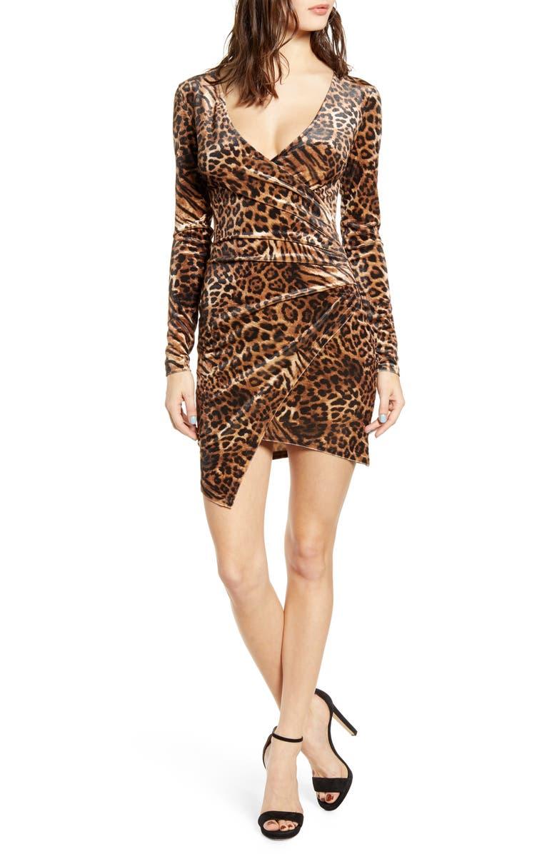 TIGER MIST Estelle Velvet Faux Wrap Dress, Main, color, LEOPARD