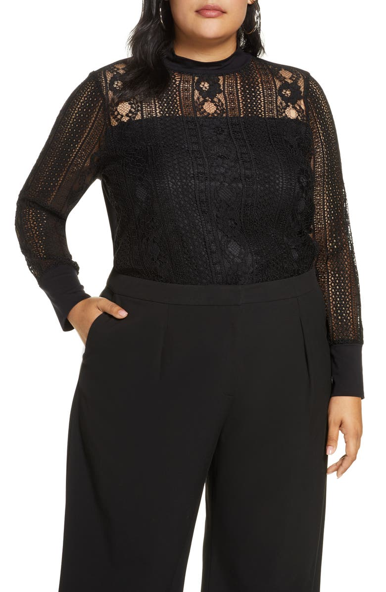 HALOGEN<SUP>®</SUP> Lace Mock Neck Long Sleeve Top, Main, color, BLACK