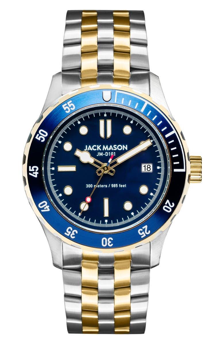 JACK MASON Diver Bracelet Watch, 42mm, Main, color, BLUE