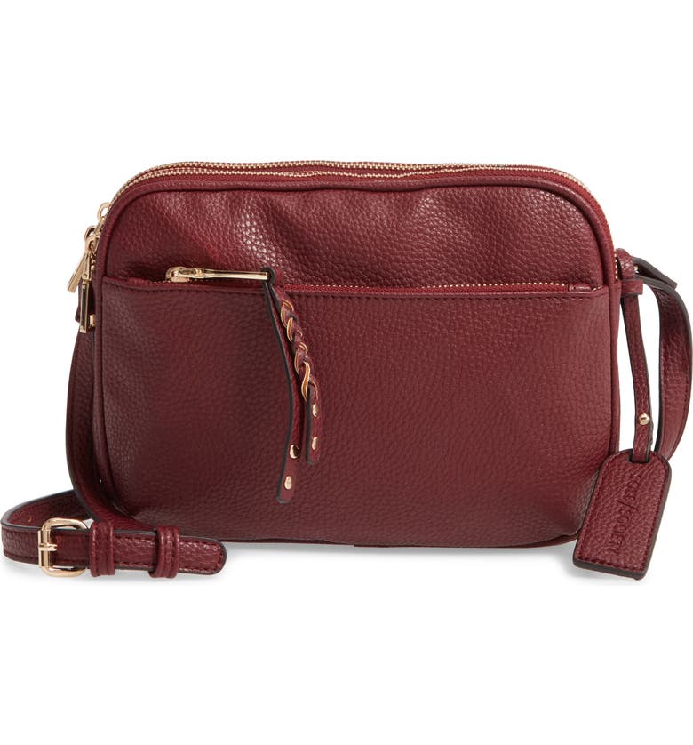 SOLE SOCIETY Faux Leather Crossbody Bag, Main, color, OXBLOOD