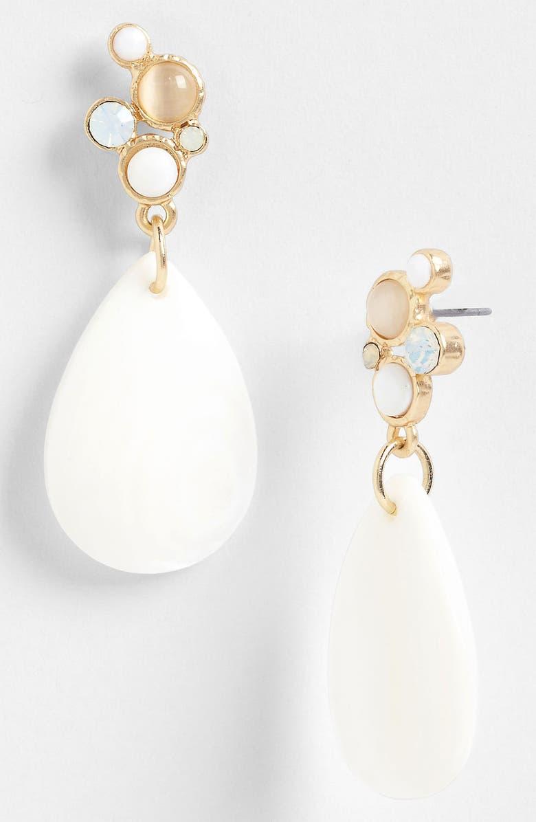 NORDSTROM 'Santorini' Teardrop Earrings, Main, color, WHITE MULTI/ WORN GOLD
