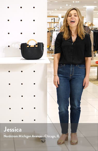 Ardel Wooden Top Handle Faux Leather Bag, sales video thumbnail