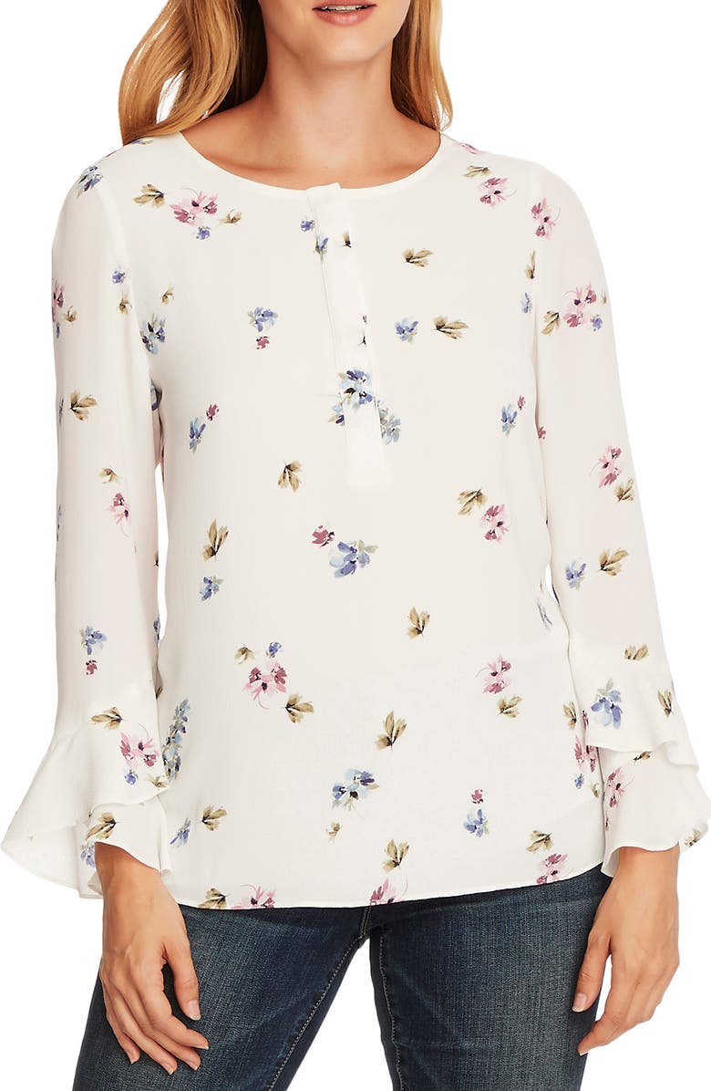 VINCE CAMUTO Flutter Cuff Romantic Buds Blouse, Main, color, PEARL IVORY