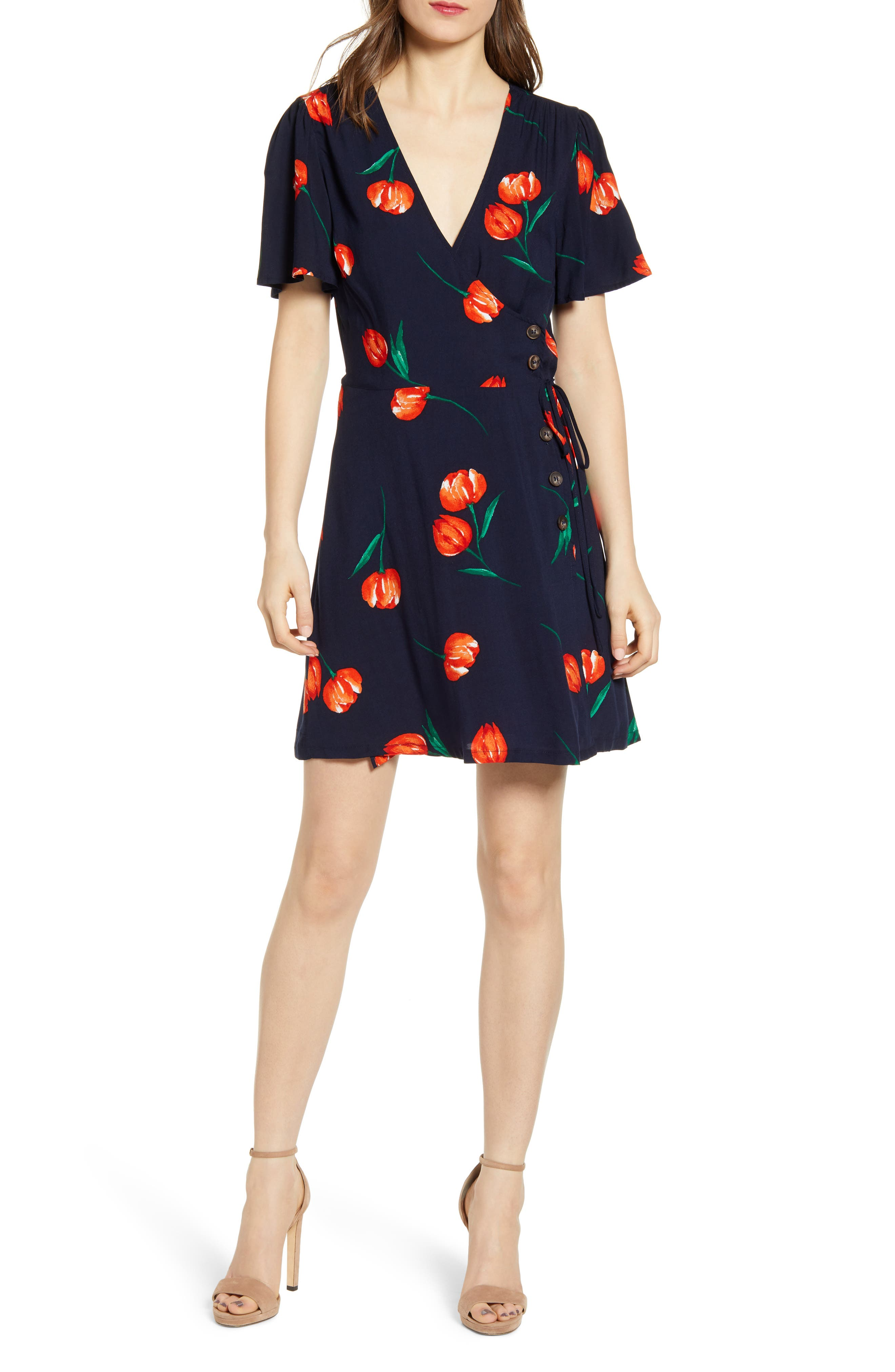 All In Favor Button Front Wrap Dress, Blue