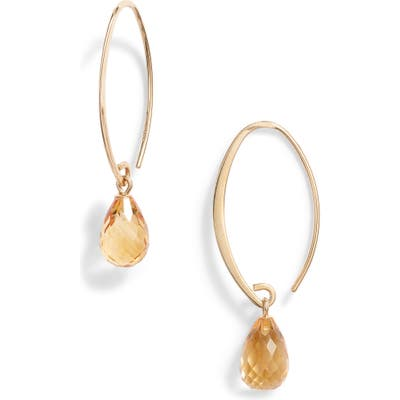 Jane Basch Briolette Gemstone Hoop Earrings