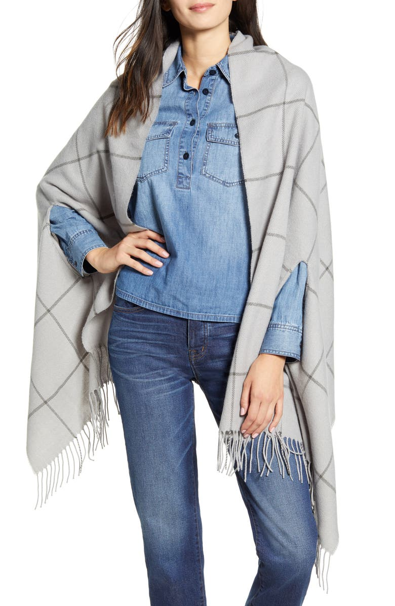 MADEWELL Windowpane Cape Scarf, Main, color, ASHEN GREY