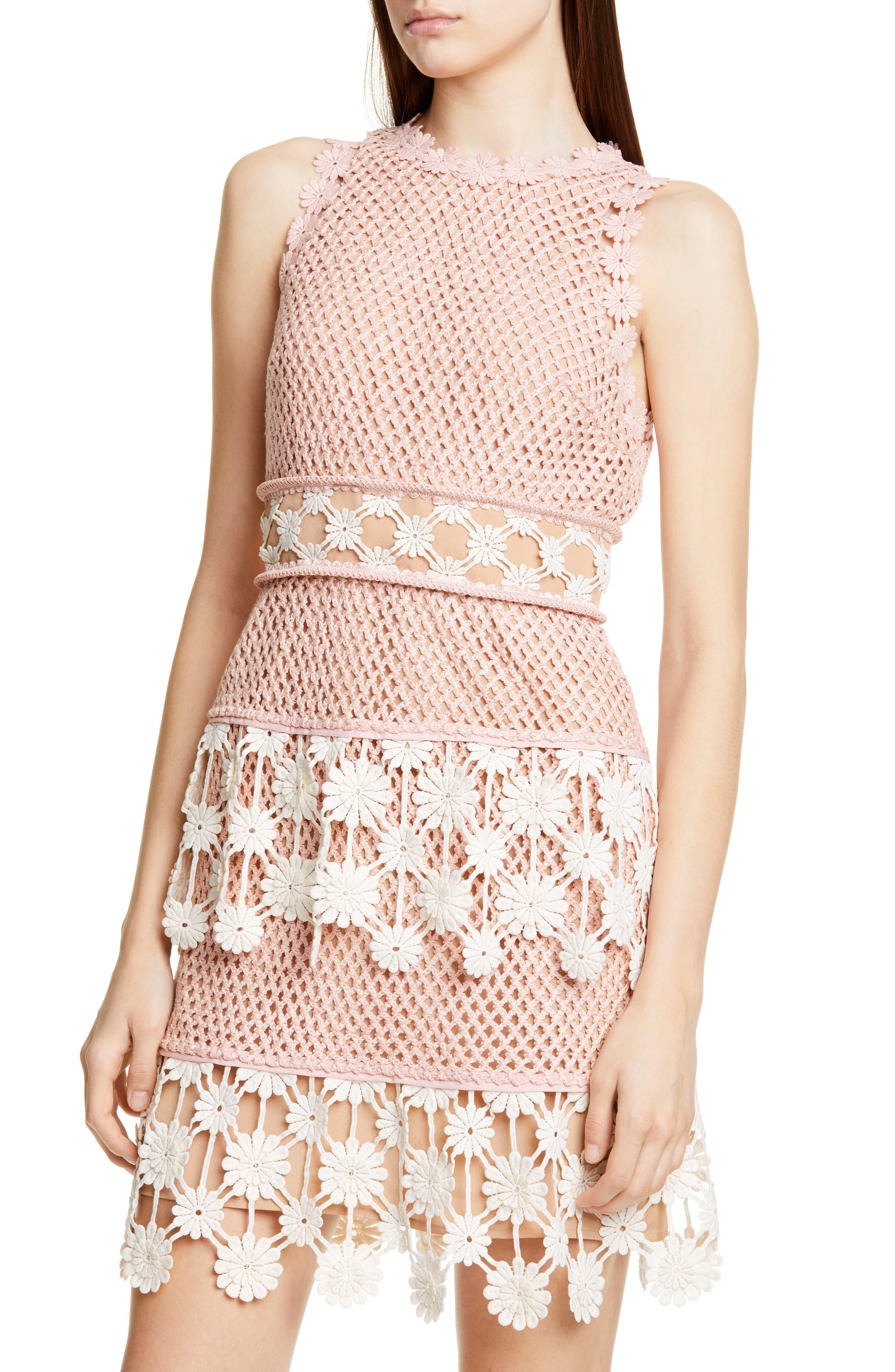 ,                             3D Floral Crochet Lace Minidress,                             Alternate thumbnail 4, color,                             PINK ECRU