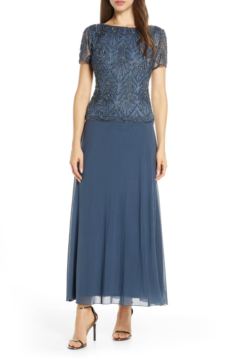 PISARRO NIGHTS Beaded Bodice Chiffon Gown, Main, color, SLATE