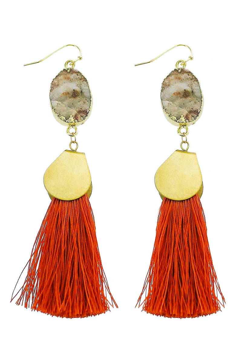 PANACEA Sunstone Tassel Earrings, Main, color, RED
