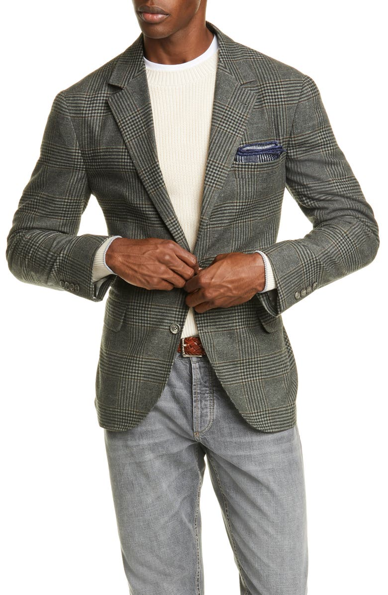 BRUNELLO CUCINELLI Trim Fit Plaid Wool Blend Sport Coat, Main, color, ARMY GREEN