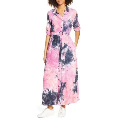 S/w/f Cherish Maxi Belted Long Sleeve Shirtdress, Pink