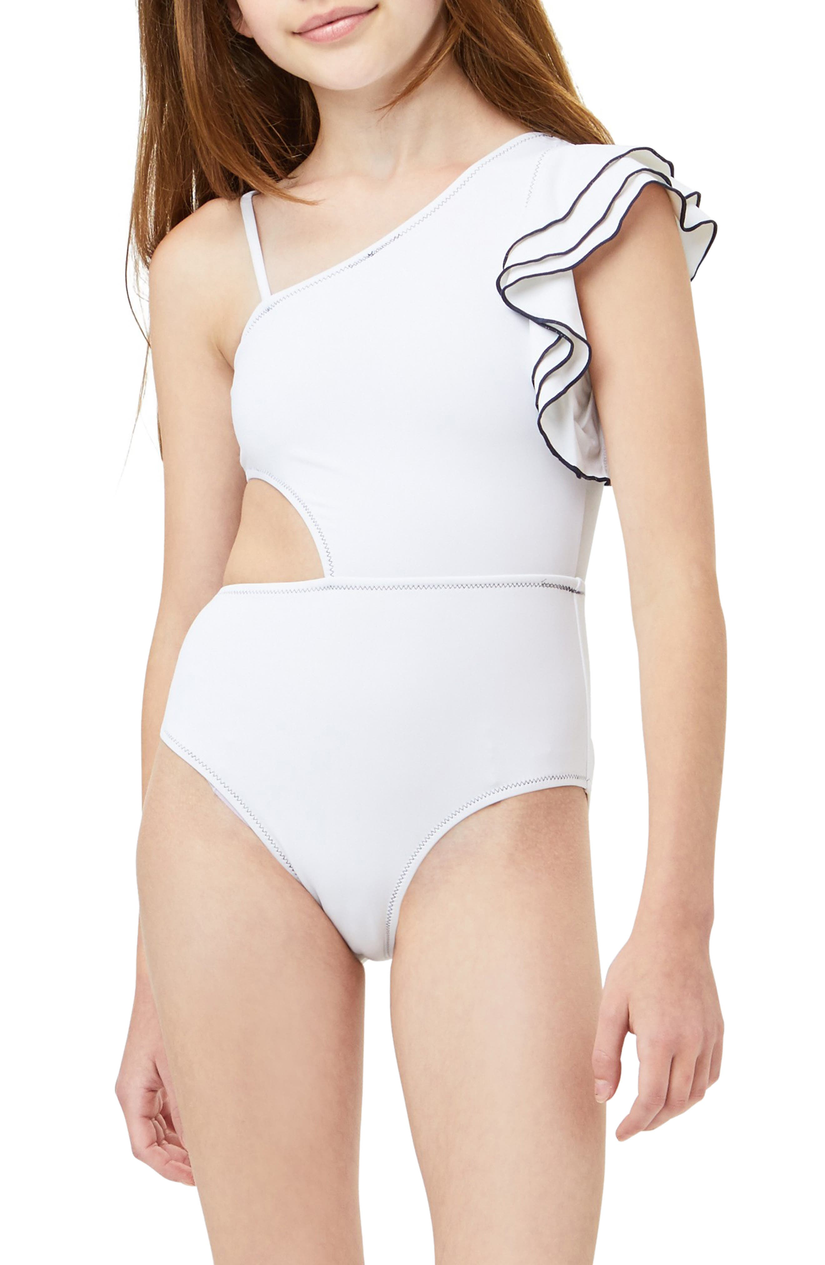 Heart And Harmony Girls Spaghetti Strap Romper Swimsuit Cover Up