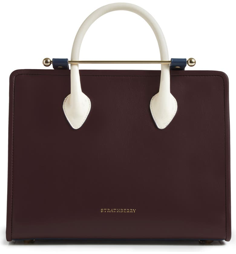 STRATHBERRY Tricolor Midi Leather Tote, Main, color, BURGUNDY/ NAVY/ VANILLA