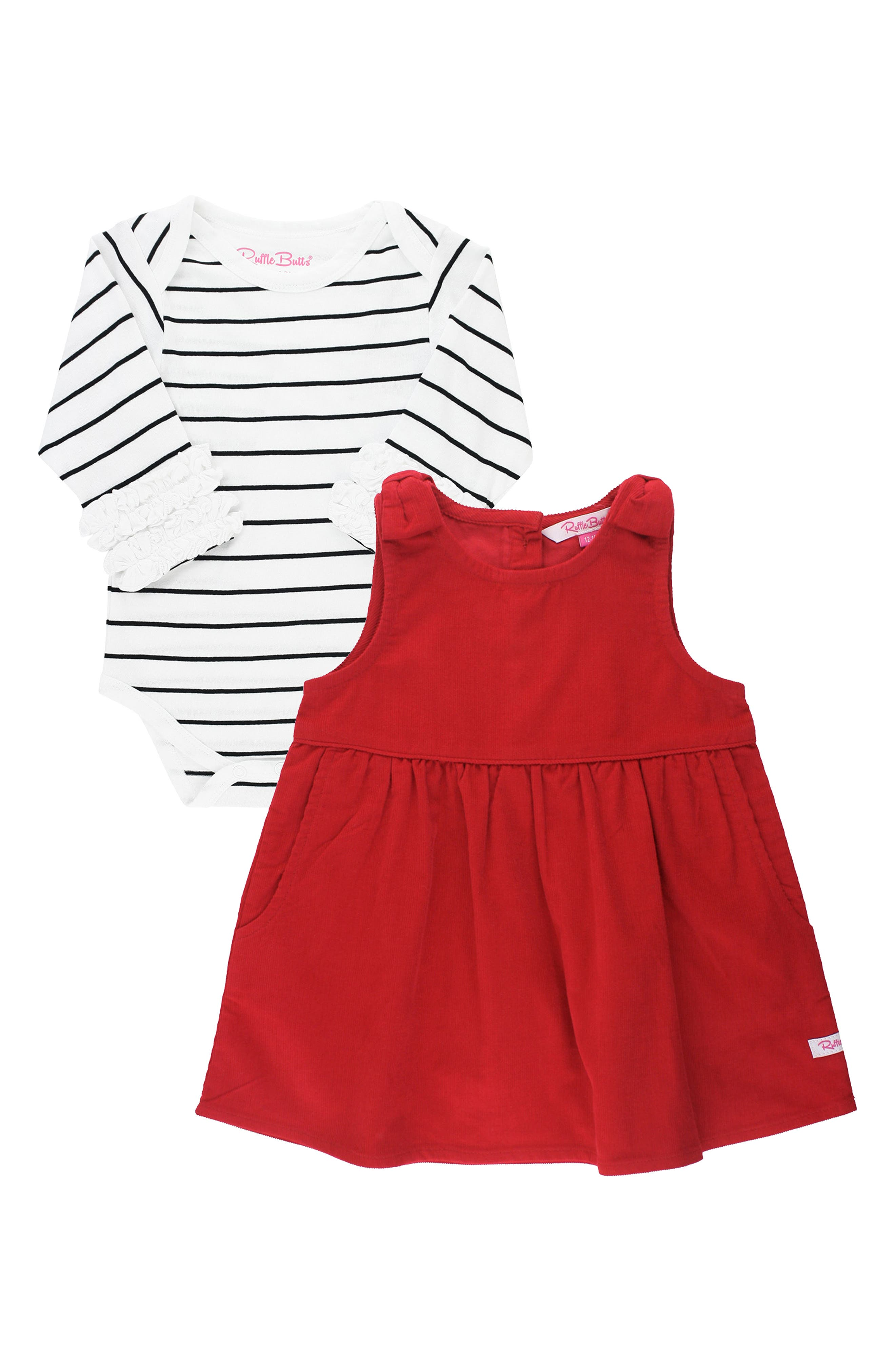 Ruffle trim marks the cuffs of a crisply striped bodysuit paired with a bright red bow-embellished dress. Style Name: Rufflebutts Dress & Stripe Bodysuit Set (Baby). Style Number: 6095672. Available in stores.