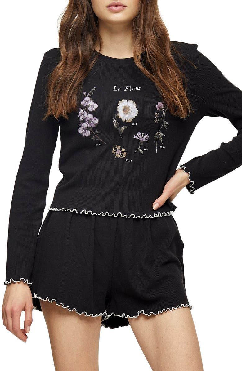 TOPSHOP Floral Ribbed Short Pajamas, Main, color, BLACK MULTI