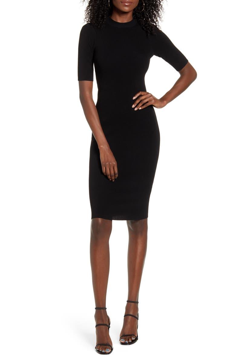 LEITH Body-Con Sweater Dress, Main, color, BLACK