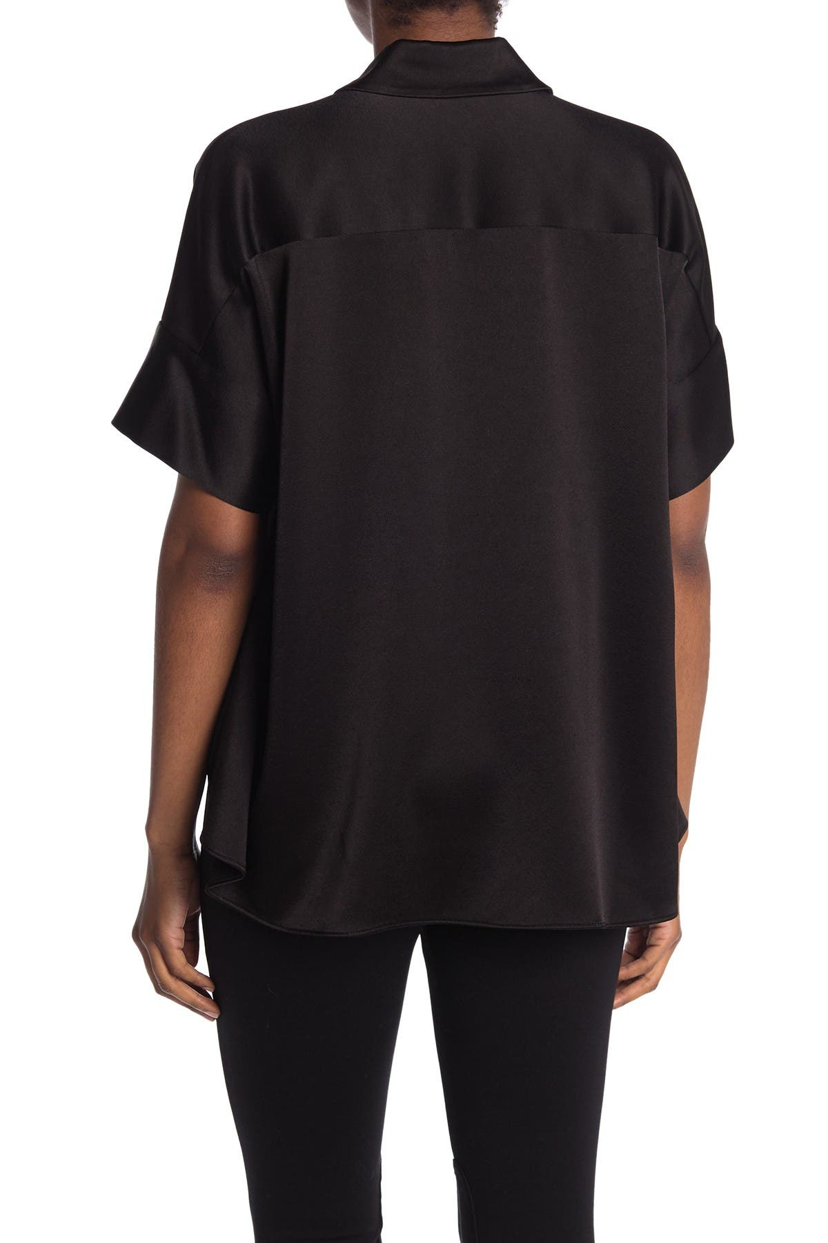 Image of alice + olivia Edyth Short Sleeve Drapey Button Front Blouse