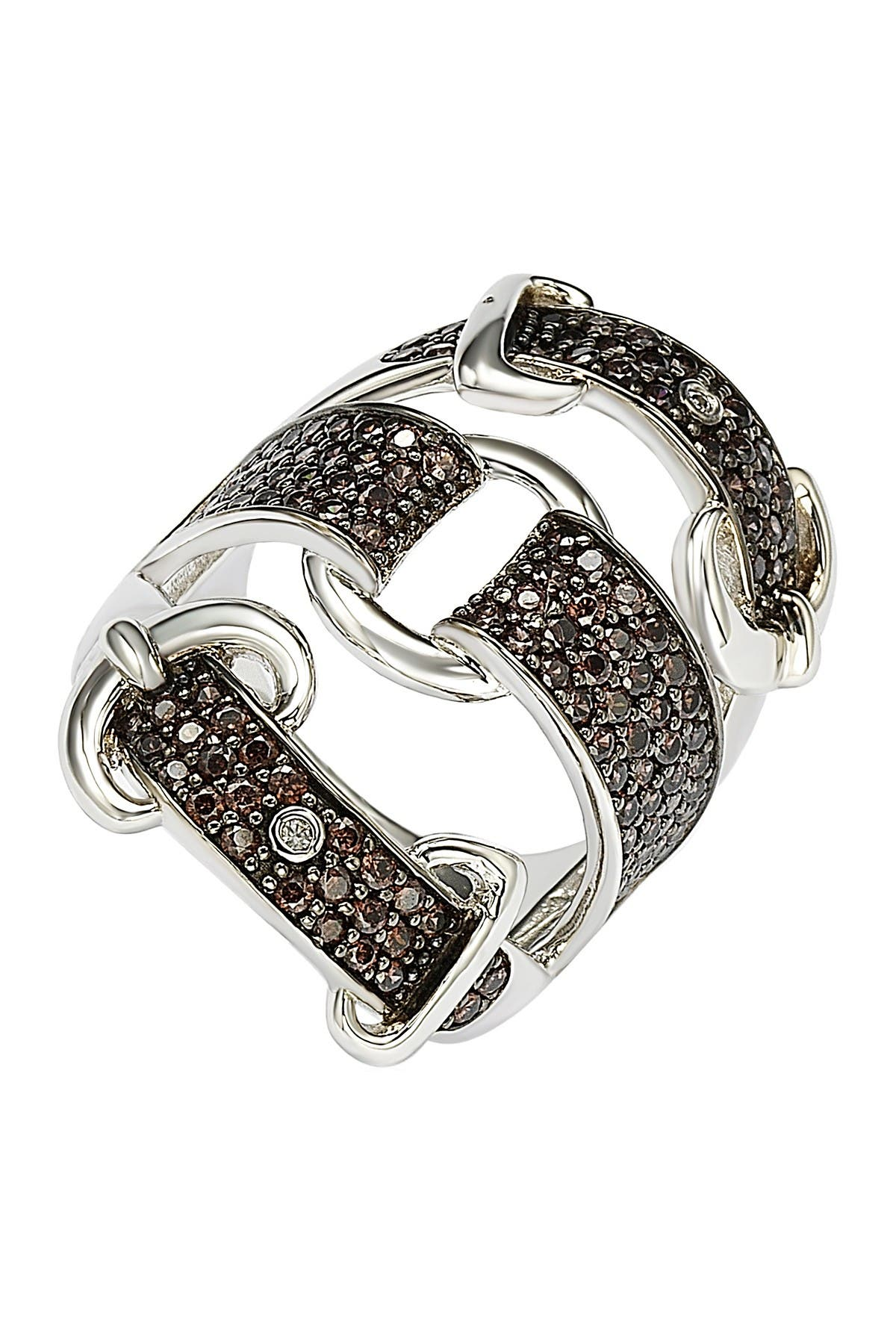 Image of Suzy Levian Sterling Silver Brown CZ Triple Buckle Ring