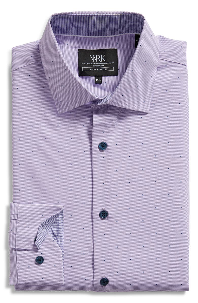 W.R.K . Trim Fit Dot Performance Dress Shirt, Main, color, LILAC