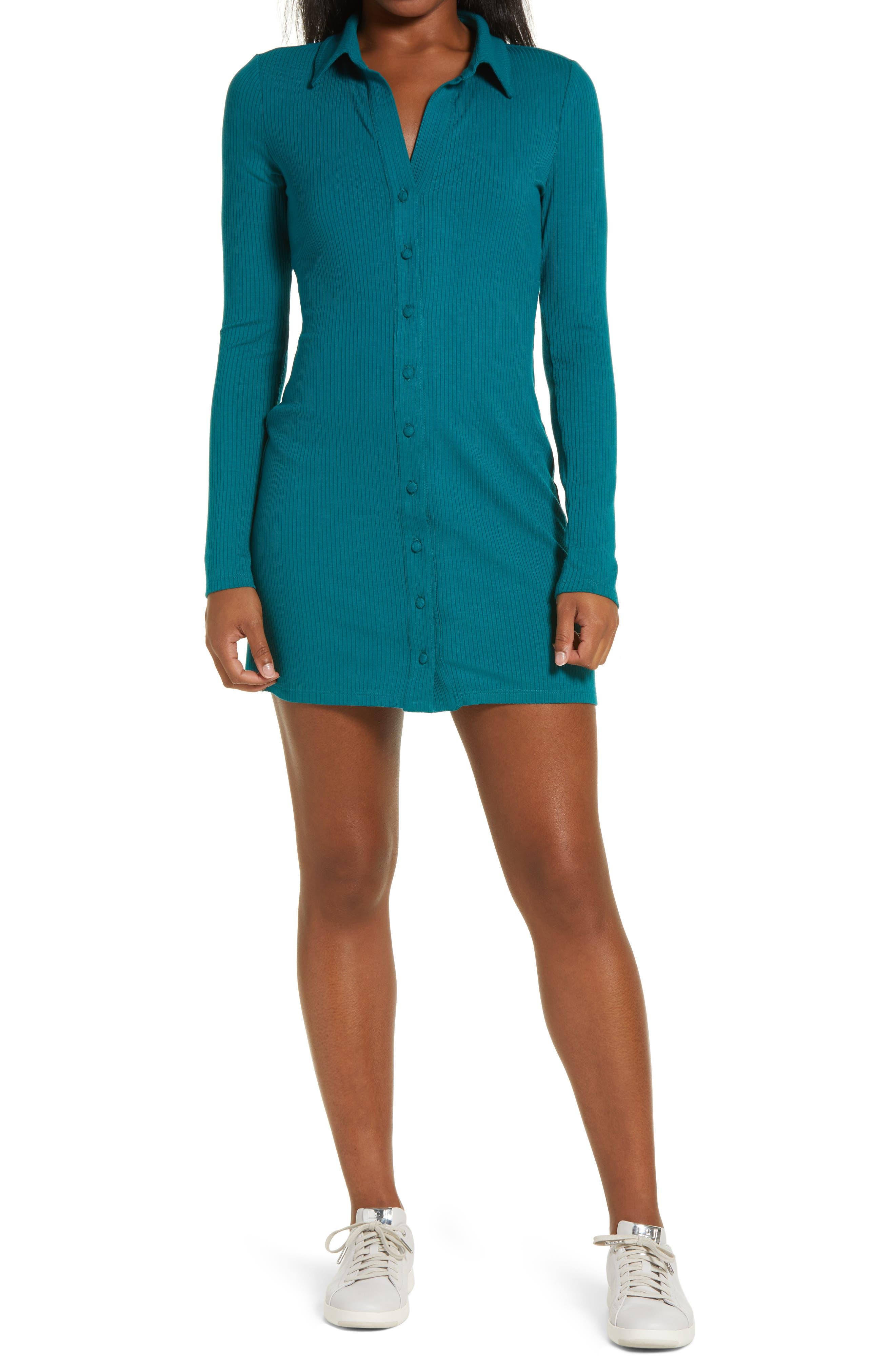Rib Long Sleeve Button-Up Dress
