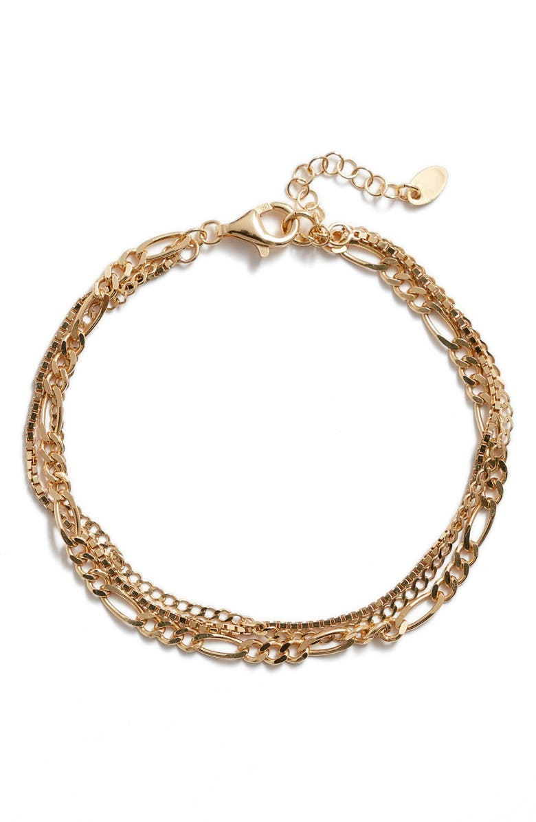 ARGENTO VIVO Triple Layer Chain Bracelet, Main, color, GOLD
