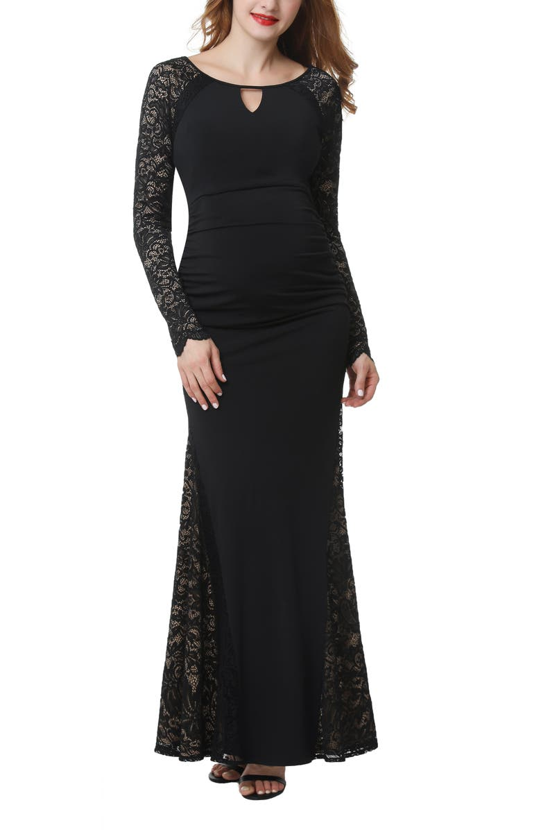 KIMI AND KAI Bella Maternity Maxi Dress, Main, color, BLACK