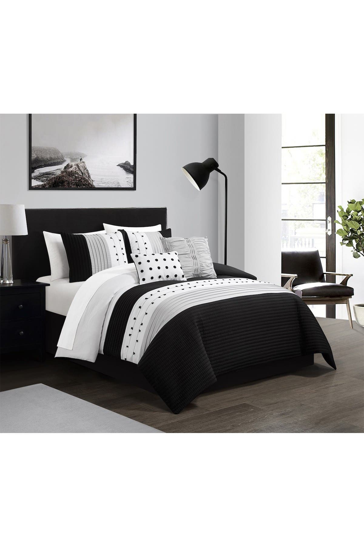 Chic Home Bedding Lannie Color Block Pleated Embroidered Design Queen Comforter Set Black 5 Piece Set Nordstrom Rack