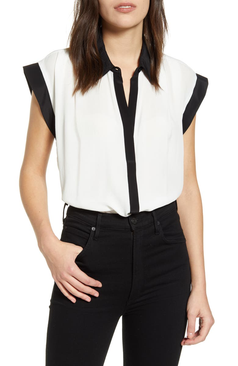 7 FOR ALL MANKIND<SUP>®</SUP> Colorblock Cuff Top, Main, color, SOFT WHITE