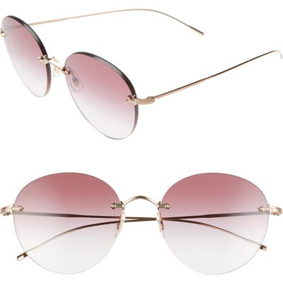 Oliver Peoples Coliena 57Mm Round Sunglasses - Rose Gold/ Clear Dark Violet