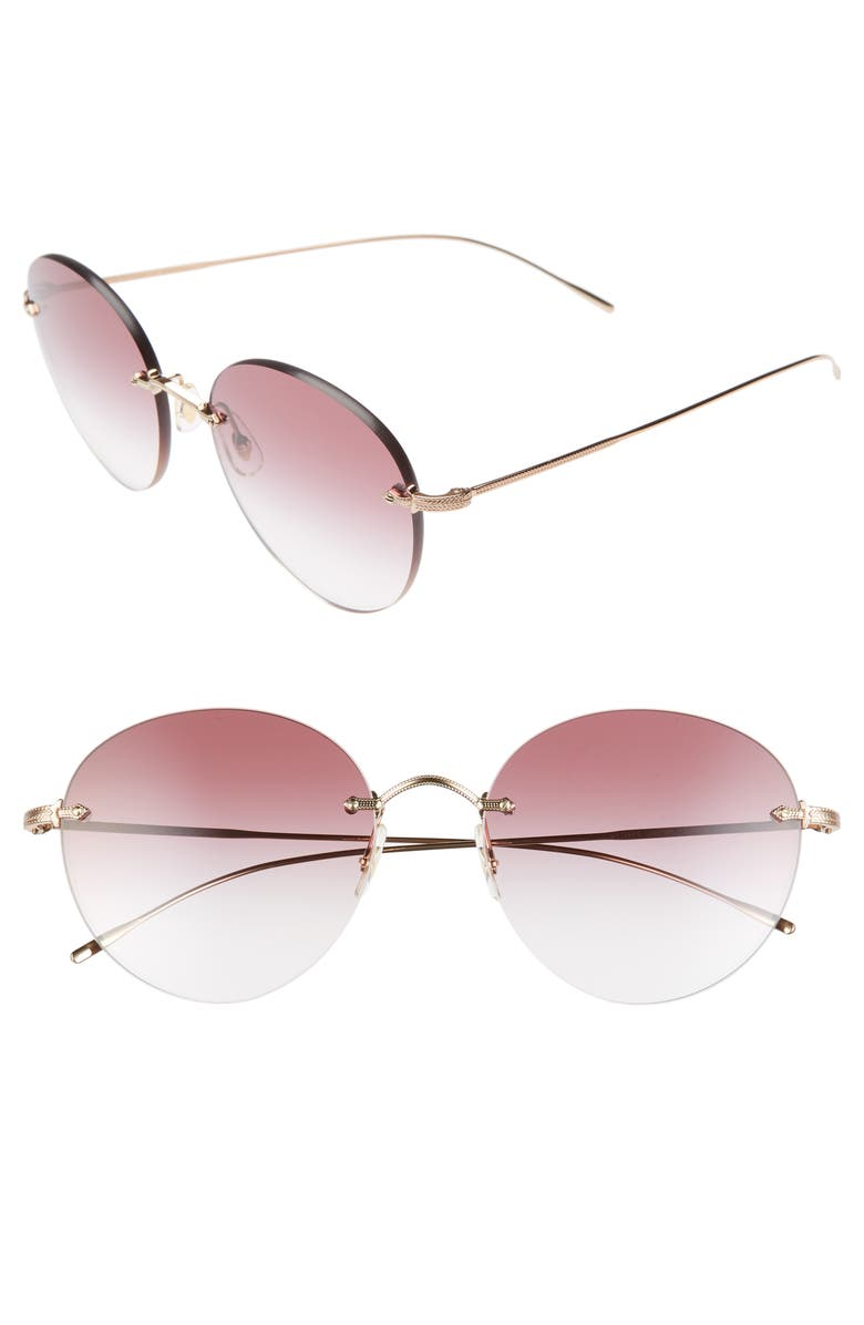 OLIVER PEOPLES Coliena 57mm Round Sunglasses, Main, color, ROSE GOLD/ CLEAR DARK VIOLET